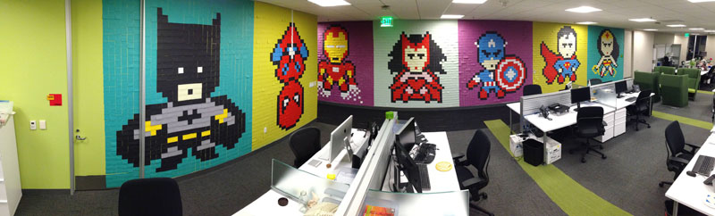 Employee Uses Post-Its to Turn Drab Office Walls Into Giant Superhero Murals (13)