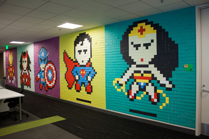 Employee Uses Post-Its to Turn Drab Office Walls Into Giant Superhero Murals (14)