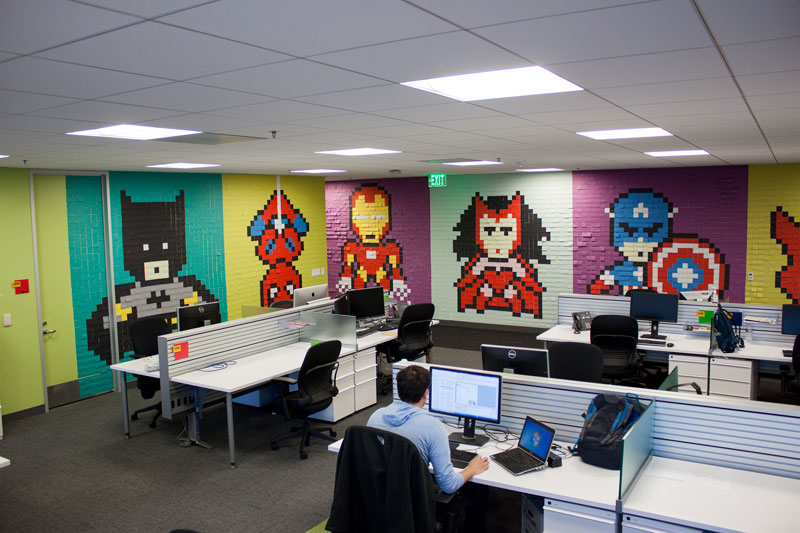 office walls. Employee Uses Post-Its To Turn Drab Office Walls Into Giant Superhero Murals (15
