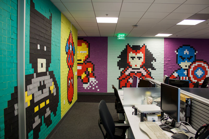 Employee Uses Post-Its to Turn Drab Office Walls Into Giant Superhero Murals (17)
