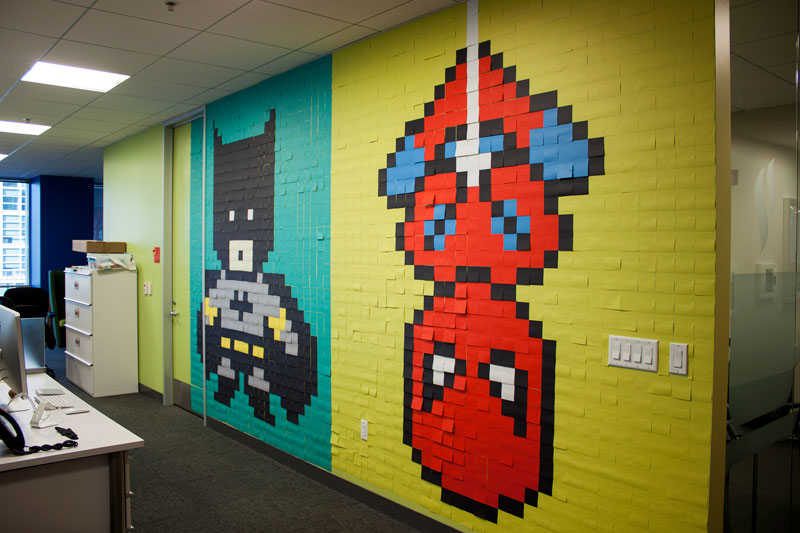 Employee Uses Post-Its to Turn Drab Office Walls Into Giant Superhero Murals (19)