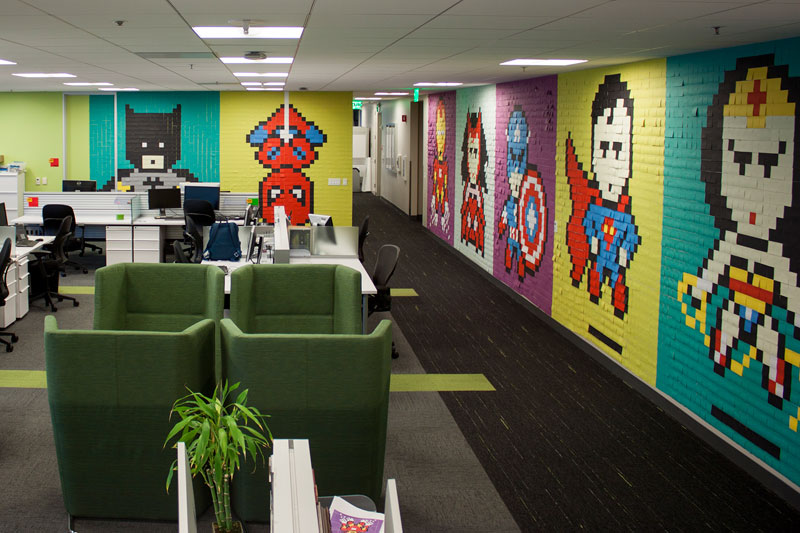 Employee Uses Post-Its to Turn Drab Office Walls Into Giant Superhero Murals (20)