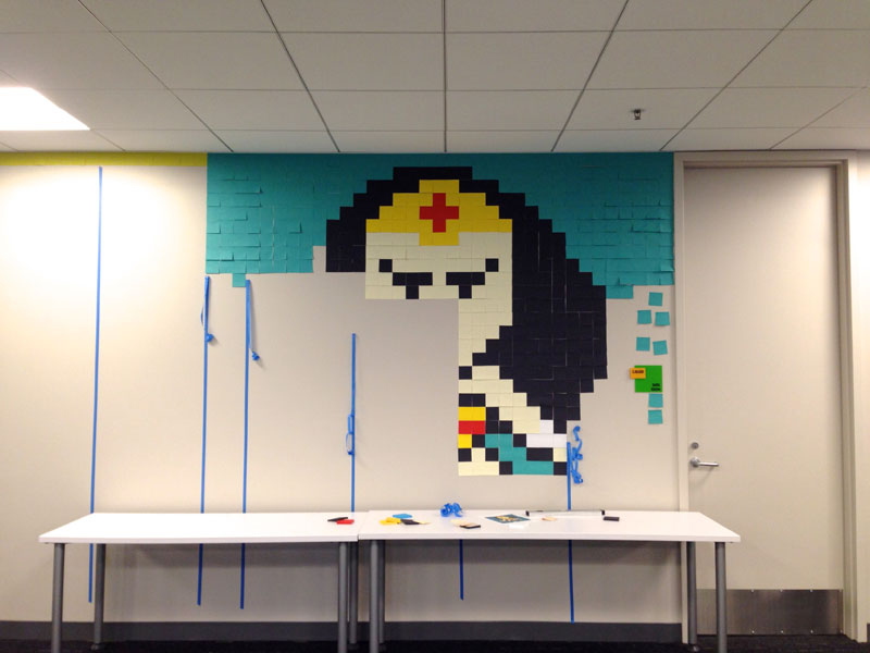 Employee Uses Post-Its to Turn Drab Office Walls Into Giant Superhero Murals (6)