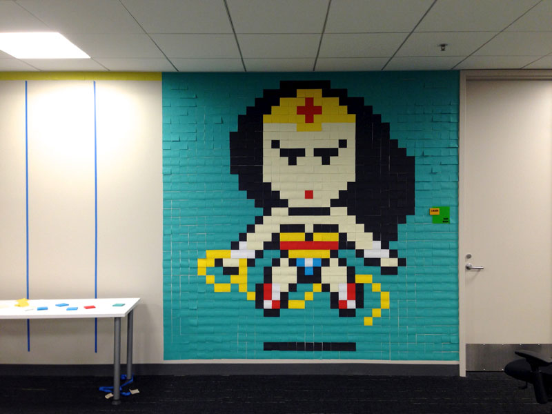 Employee Uses Post-Its to Turn Drab Office Walls Into Giant Superhero Murals (7)