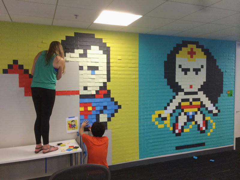 Employee Uses Post-Its to Turn Drab Office Walls Into Giant Superhero Murals (8)