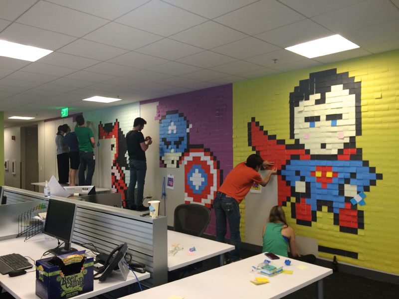 Employee Uses Post-Its to Turn Drab Office Walls Into Giant Superhero Murals (9)