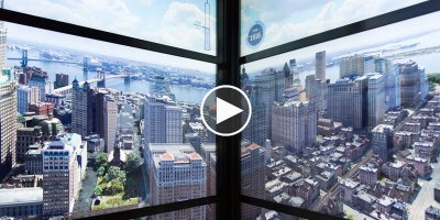 Elevator Walls Show the Evolution of New York's Skyline as You Ride to the 102nd Floor of 1WTC