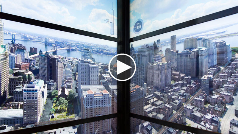 Elevator Walls Show the Evolution of New York's Skyline as You Ride to the 102nd Floor of 1 WTC