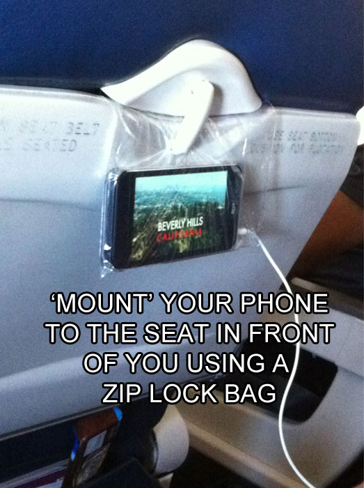 how to hang your phone on a flight life hack The 55 Most Useful Life Hacks Ever