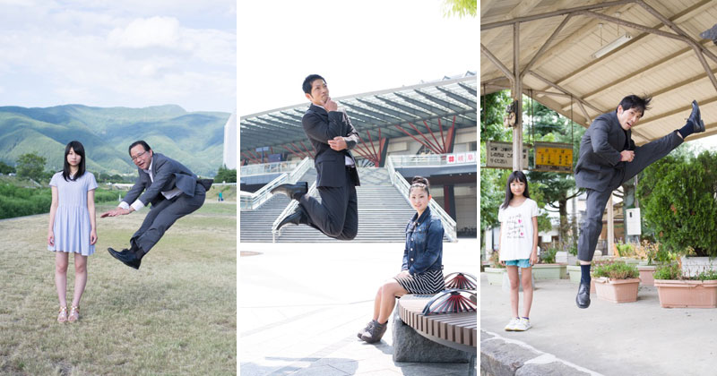 This Series of Japanese Businessmen Jumping Beside their Daughters is Perfect