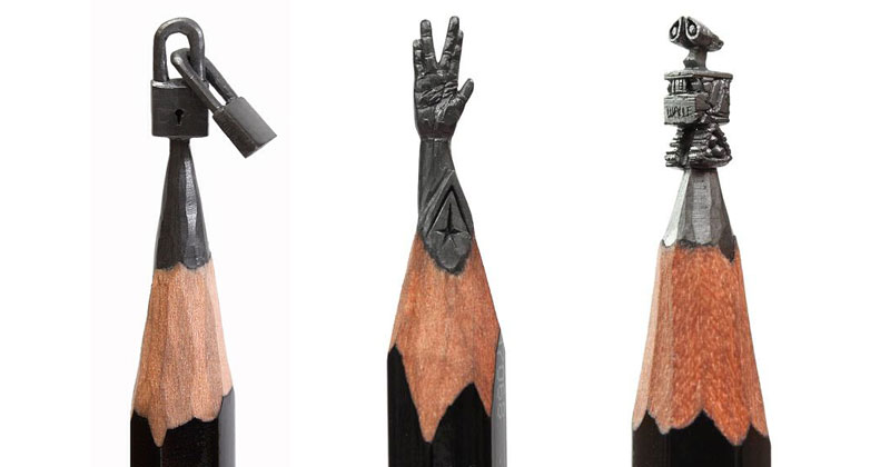 This guy carves miniature artworks onto the tips of