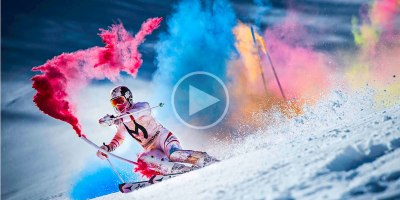 Skier Explodes with Color in Awesome Slalom Run