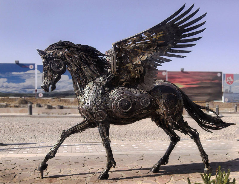 steampunk pegasus made from scrap metal by hasan novrozi (4)