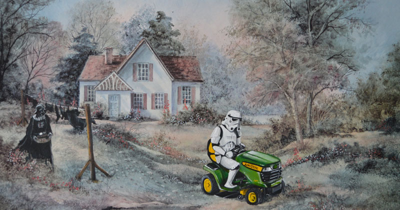 David Irvine Can't Stop Painting Random Characters Into Old Thrift Store Paintings