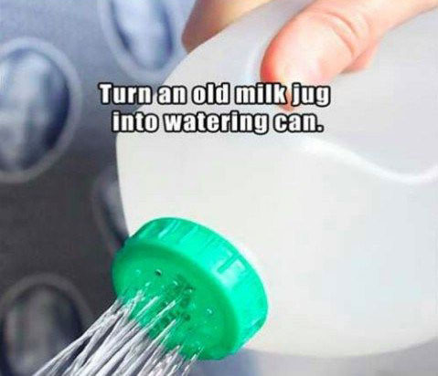 turn and old milk jug into a watering can The 55 Most Useful Life Hacks Ever