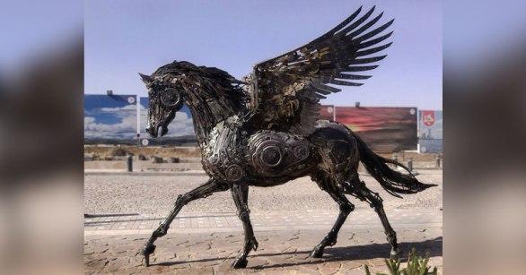 A Steampunk Pegasus Made from Scrap Metal