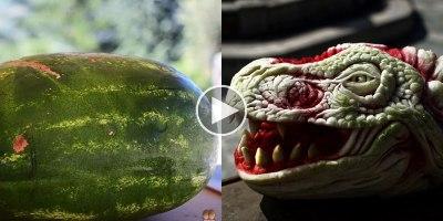 Artist Transforms Watermelon Into Dragon'sHead