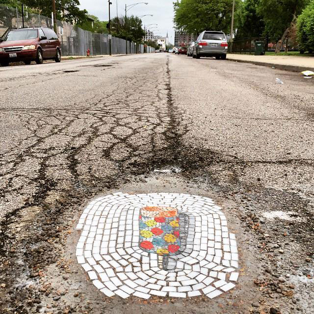 Artist Bachor Fills Potholes with Food and Flower Mosaics (1)