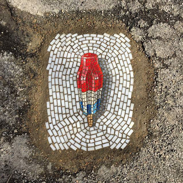 Artist Bachor Fills Potholes with Food and Flower Mosaics (12)