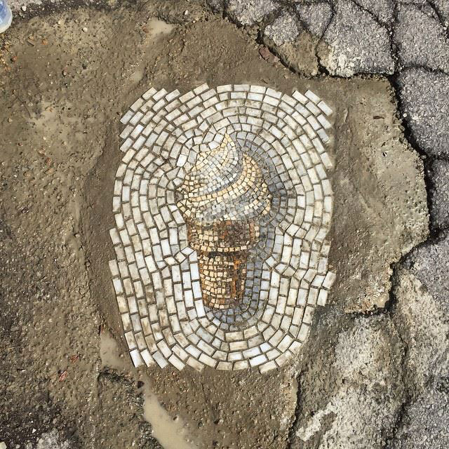 Artist Bachor Fills Potholes with Food and Flower Mosaics (14)