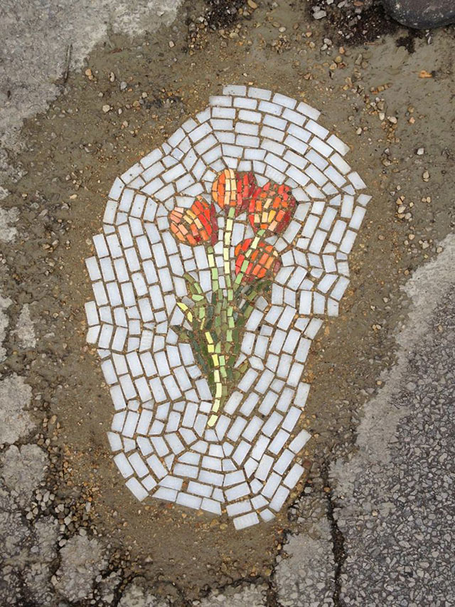 Artist Bachor Fills Potholes with Food and Flower Mosaics (17)