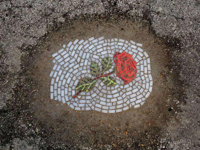 Artist Bachor Fills Potholes with Food and Flower Mosaics (18)
