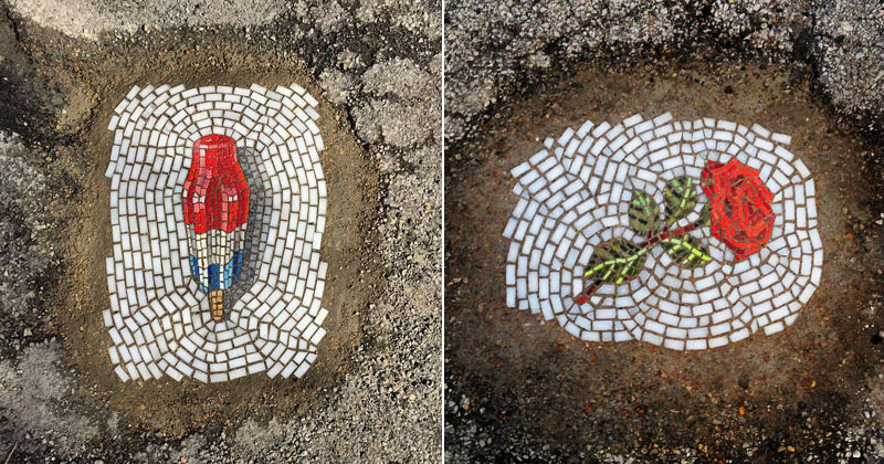 This Artist is Filling Potholes with Food and FlowerMosaics