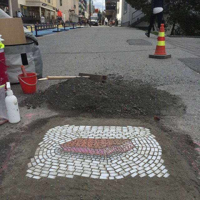 Artist Bachor Fills Potholes with Food and Flower Mosaics (6)