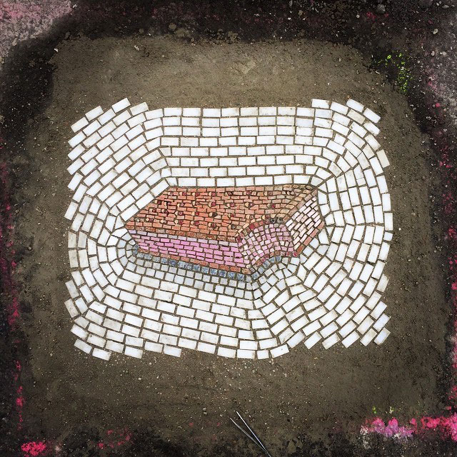 Artist Bachor Fills Potholes with Food and Flower Mosaics (7)