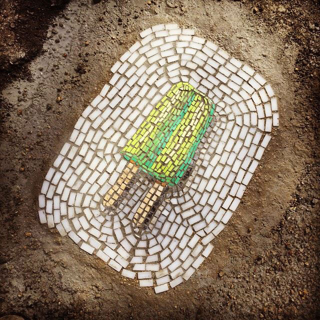 Artist Bachor Fills Potholes with Food and Flower Mosaics (8)