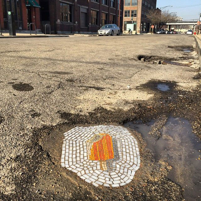 Artist Bachor Fills Potholes with Food and Flower Mosaics (9)