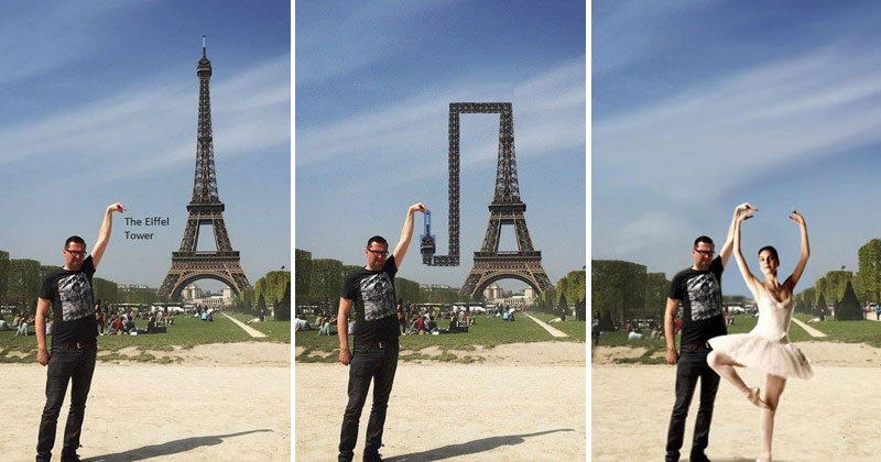 eiffel tower finger photoshop guy These Coworkers are Adding their Heads to Animals on Each Others Desktop Backgrounds