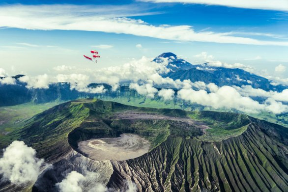 Wingsuit Flying Over Active Volcanoes in Indonesia