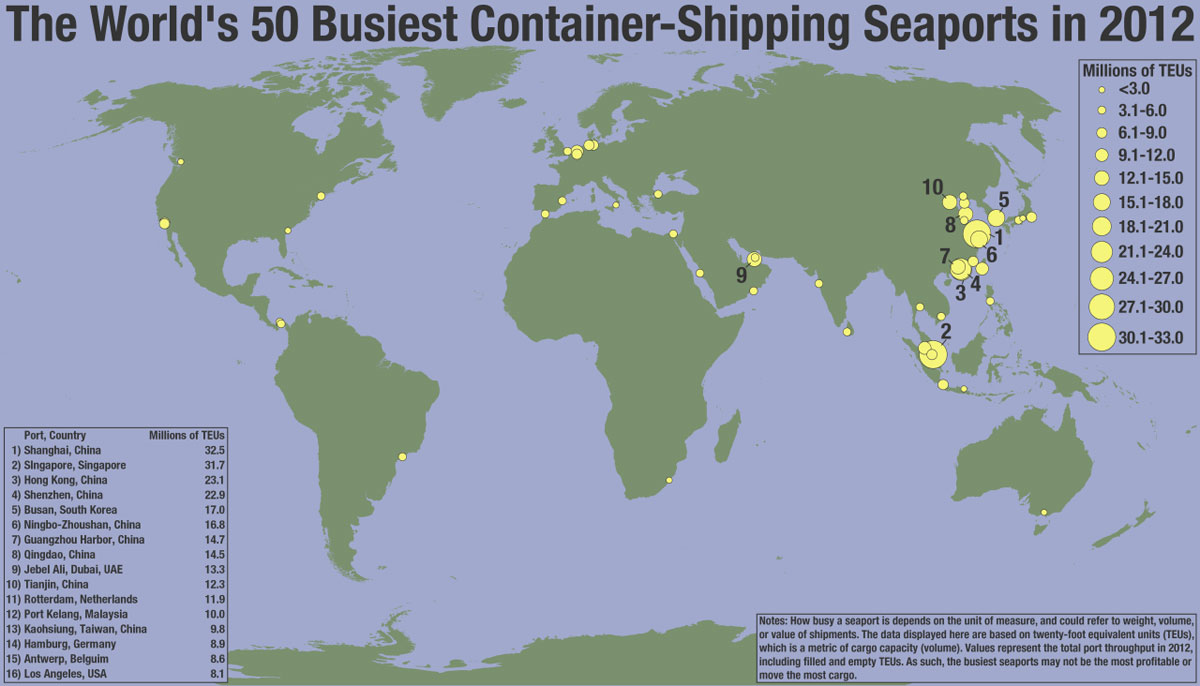 50 busiest container shipping seaports in the world 32 Maps That Will Teach You Something New About the World