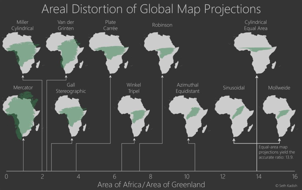 areal distortion of global map projections 32 Maps That Will Teach You Something New About the World