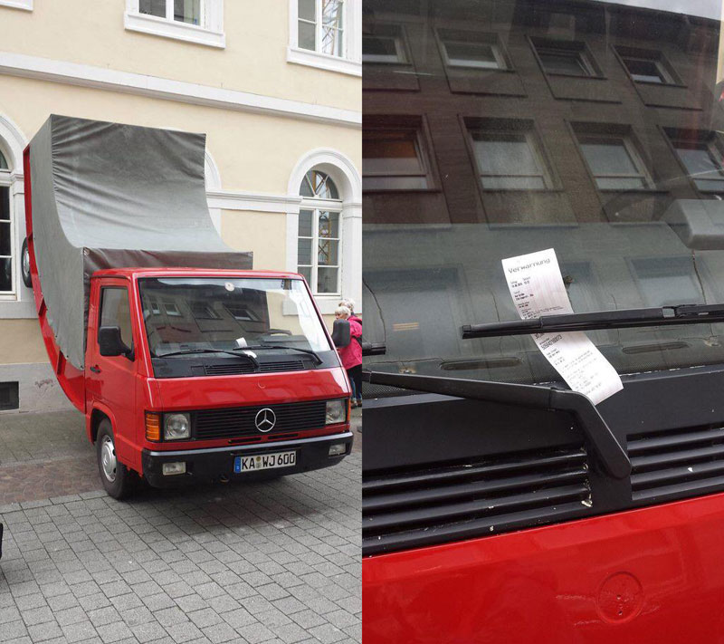 city issues parking ticket to car scupture it commissioned (1)