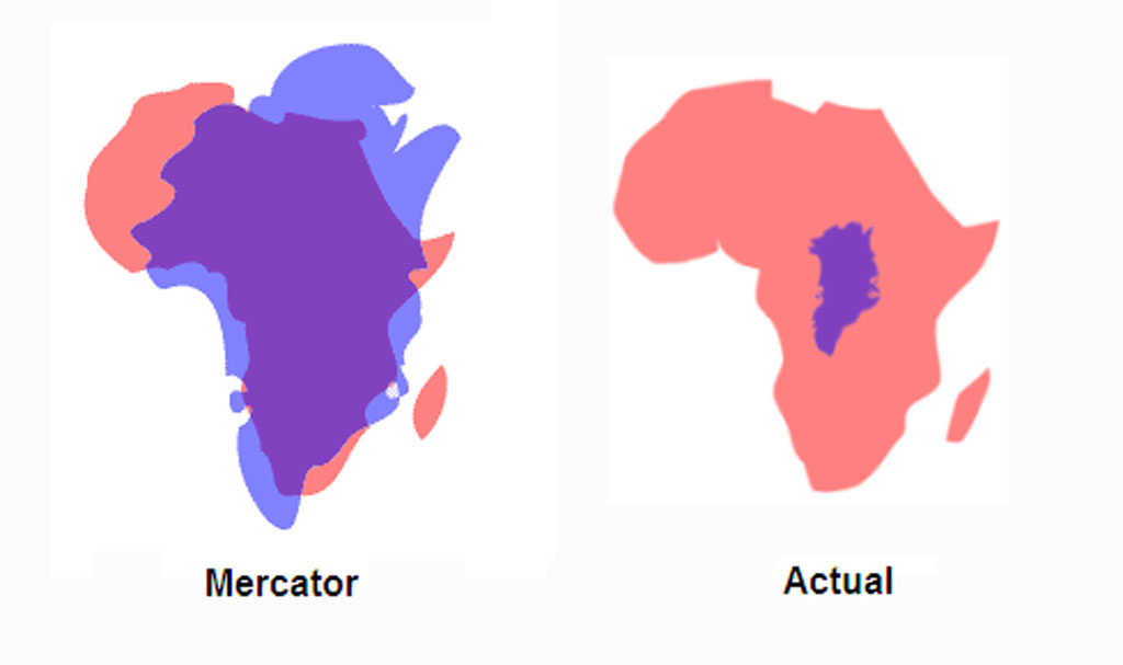 greenland vs africa actual size vs mercator projection