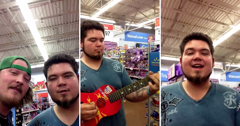 Guy Shreds a Walmart Guitar and Sings the Blues
