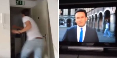 Guy Watching TV Sees Live Broadcast Near His House, Runs Full Speed and VideobombsIt