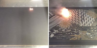 Machine Etches Digital Artworks Into Actual Canvases UsingLasers