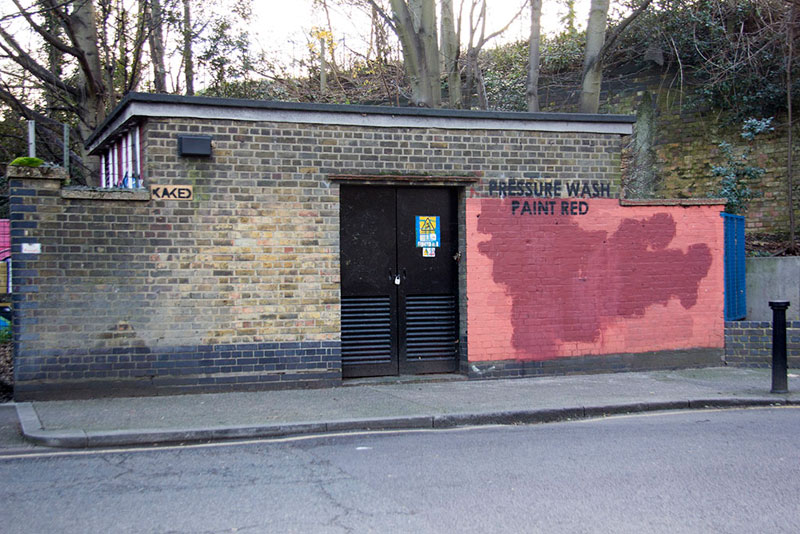 Street Artist mobstr and City Worker Have Year Long Exchange on Red Wall in London (18)