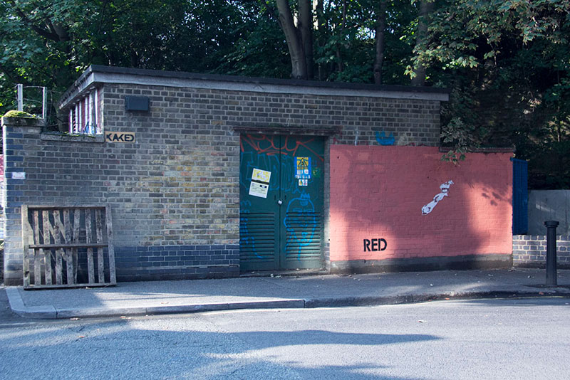 Street Artist mobstr and City Worker Have Year Long Exchange on Red Wall in London (2)