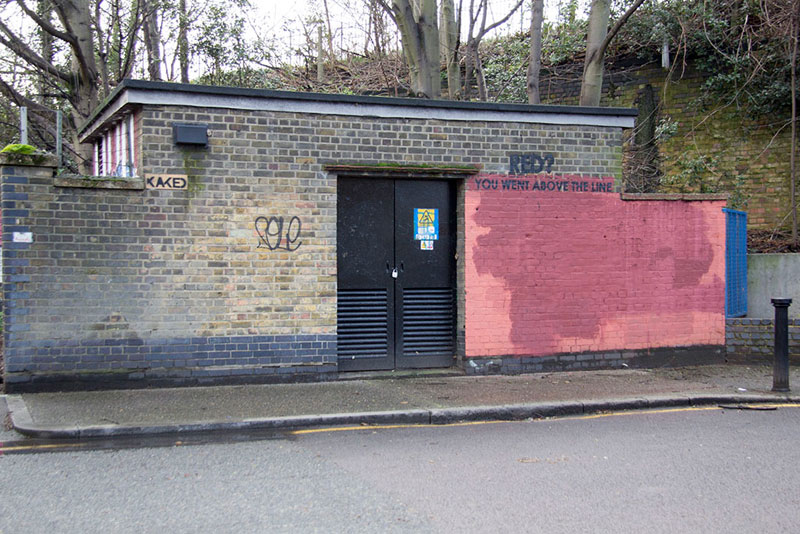 Street Artist mobstr and City Worker Have Year Long Exchange on Red Wall in London (23)