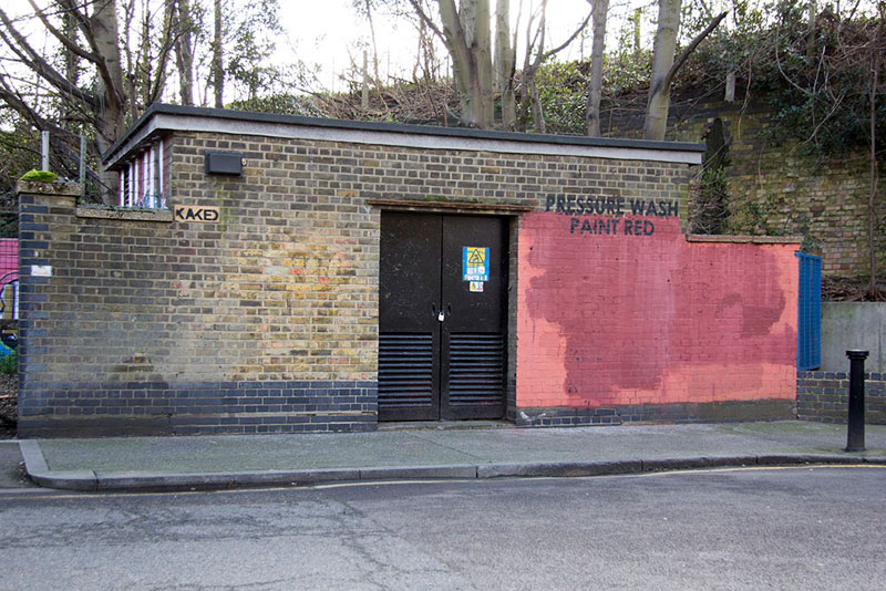 Street Artist mobstr and City Worker Have Year Long Exchange on Red Wall in London (26)