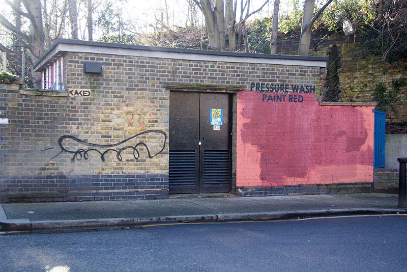 Street Artist mobstr and City Worker Have Year Long Exchange on Red Wall in London (27)