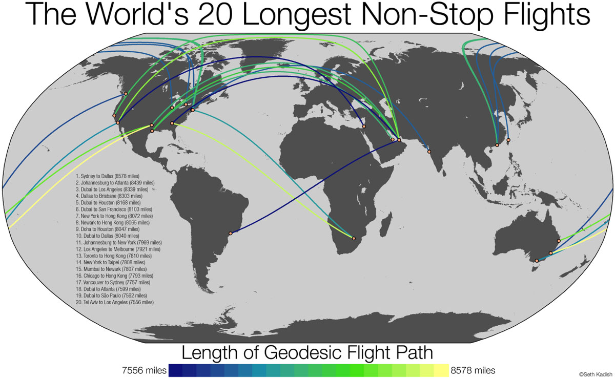 Maps That Will Teach You Something New About The World - Earth map show airplane travell from us to austrialia