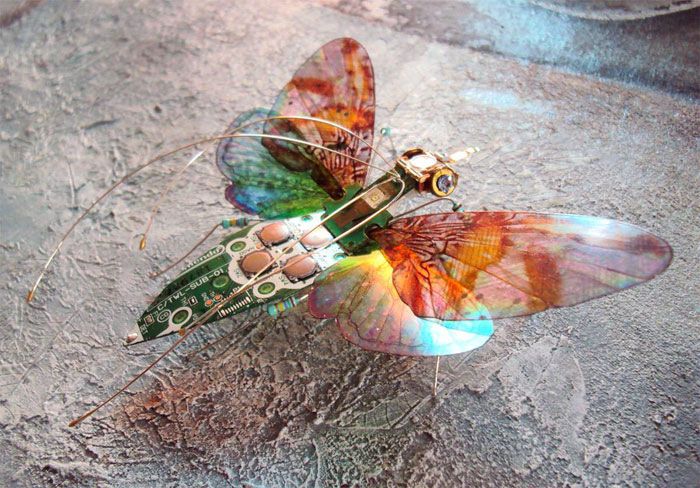 winged insects made from discarded electronics (13)