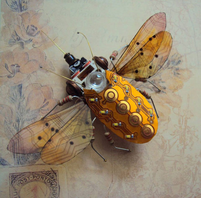 Artist Turns Discarded Electronics Into Amazing Winged Insects