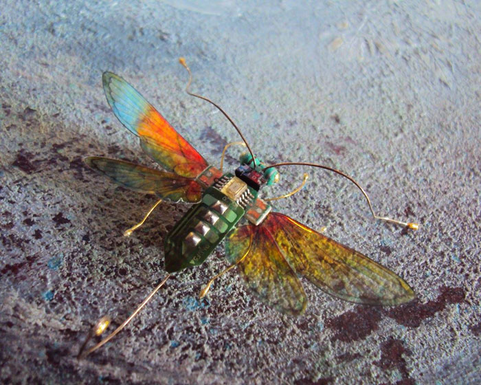 winged insects made from discarded electronics (2)