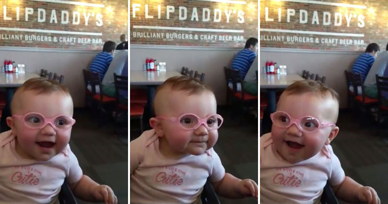 Baby tries on glasses for the very first time 171 twistedsifter